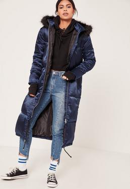 Granatowa satynowa długa kurtka zimowa z kapturem