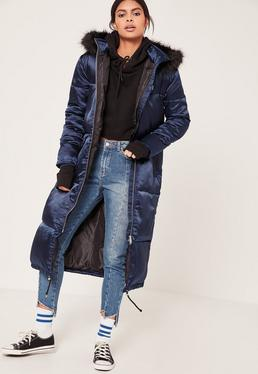 Navy Longline Satin Padded Coat