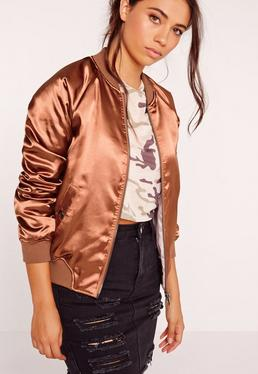 Premium Zip Detail Satin Bomber Jacket Clay