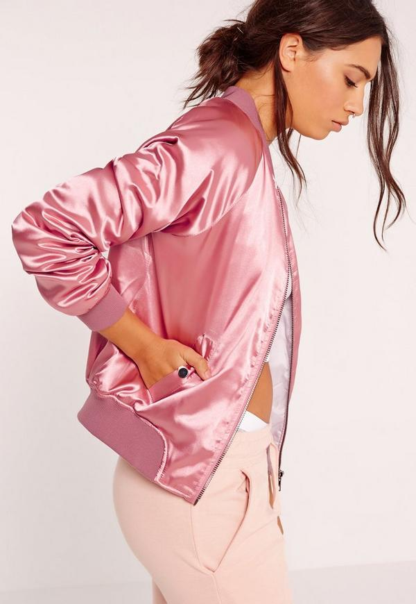 Bomber Premium en satin rose - Missguided