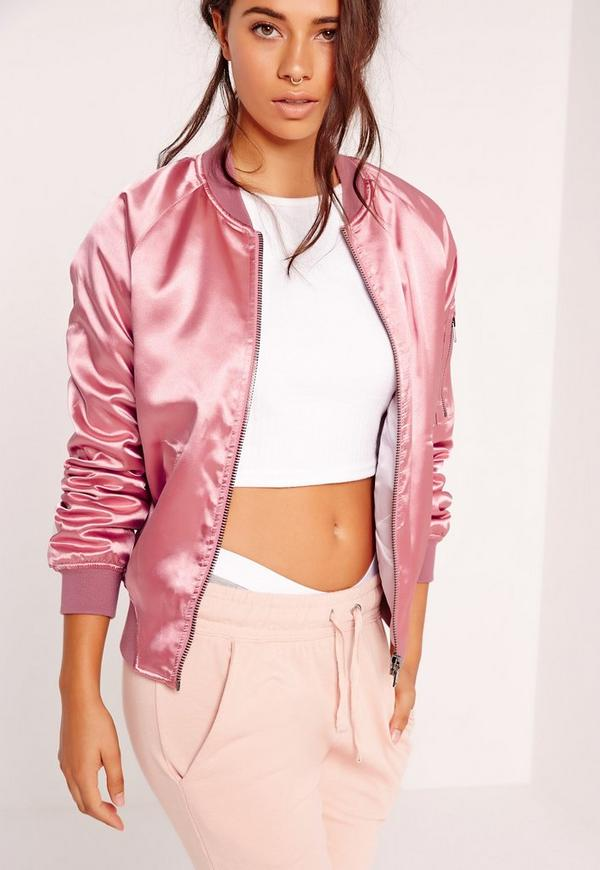 Premium Satin Bomber Jacket Pink   Missguided