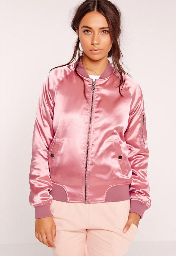Premium Satin Bomber Jacket Pink | Missguided