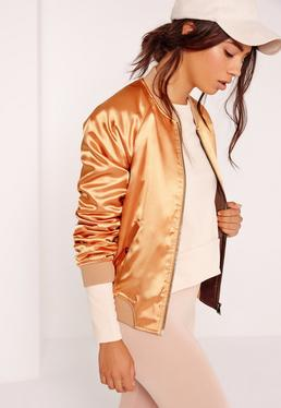 Premium Satin Bomber Jacket Gold