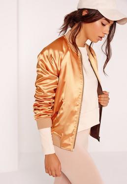 Premium Satin Bomber Jacket Gold