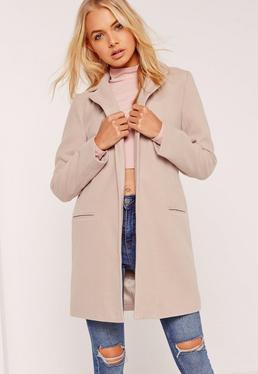 Manteau court gris cintré en fausse laine
