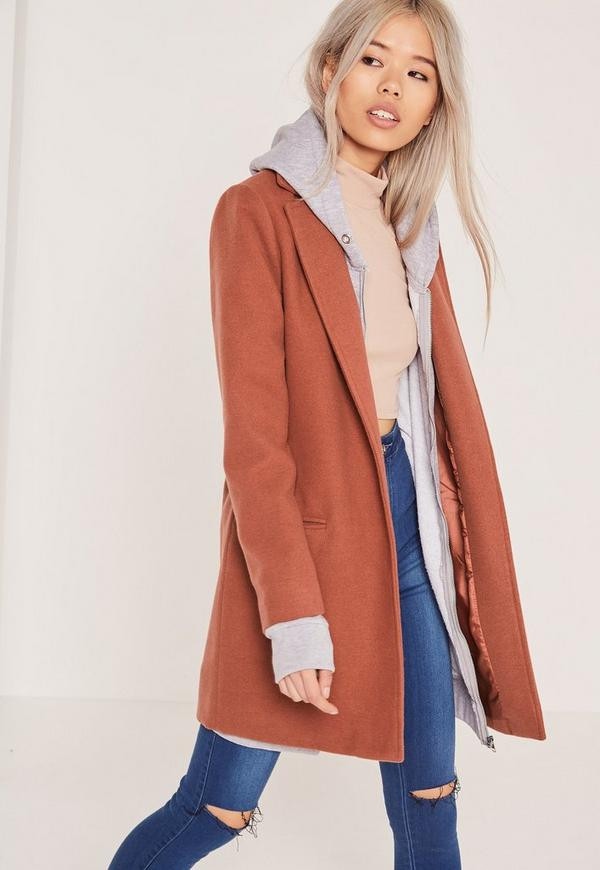 Short Tailored Faux Wool Coat Brown