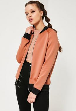 Raglan Sleeve Scuba Bomber Jacket Orange