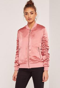 Ruched Sleeve Laced Bomber Jacket Pink