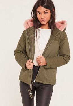Khaki Short Faux Fur Hooded Parka Coat