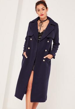 Granatowy długi dwurzędny płaszcz
