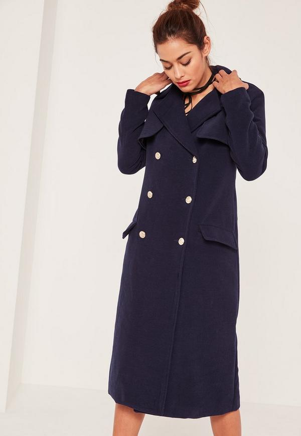 Navy Military Coat | Down Coat