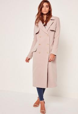 longline faux wool military coat nude