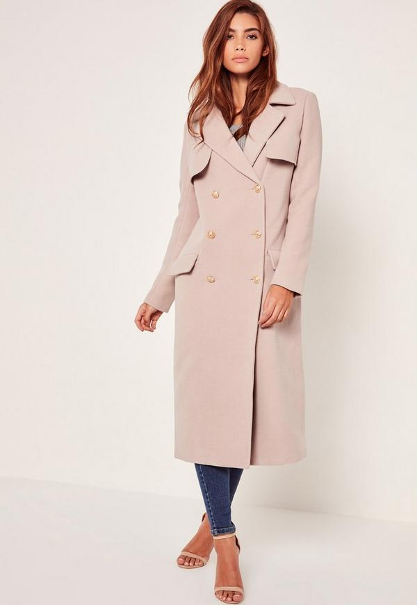 longline faux wool military coat nude