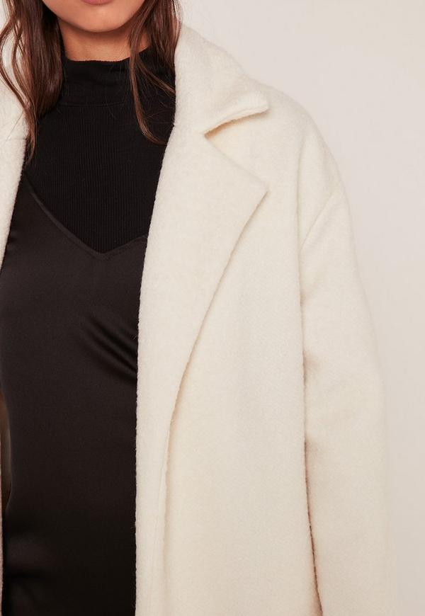 textured faux wool tailored coat white