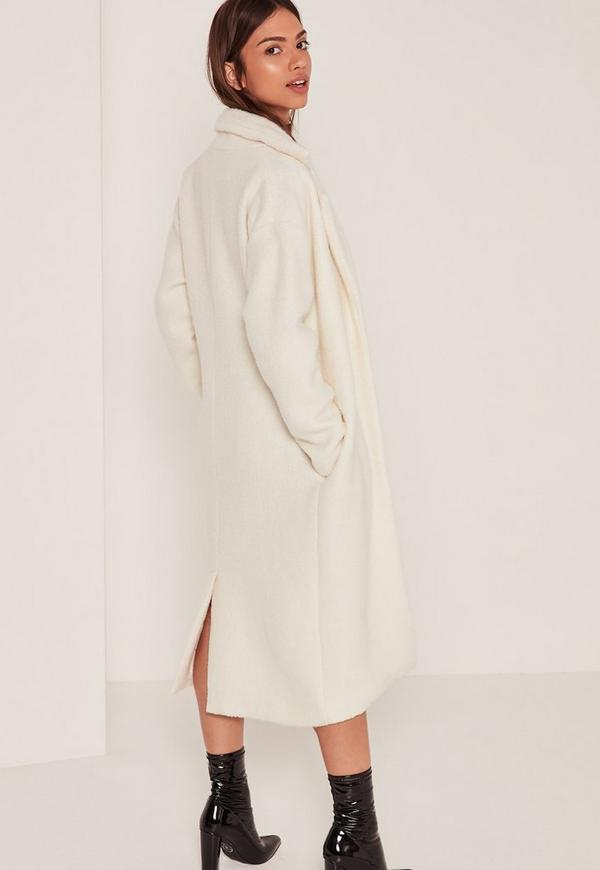 textured faux wool tailored coat white | Missguided