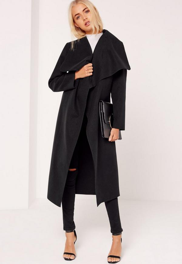 Oversized Waterfall Duster Coat Black