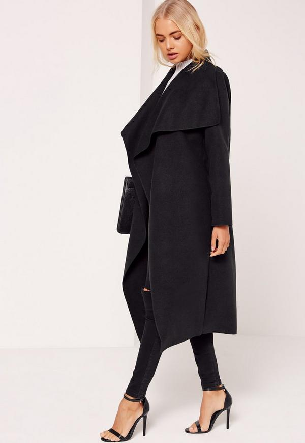 869a2bdf29 Oversized Waterfall Duster Coat Black