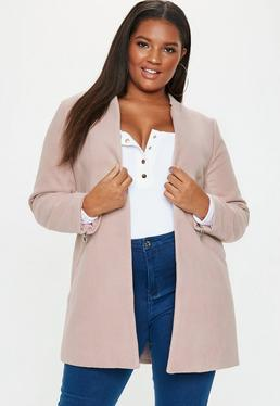 Tailored Inverted Collar Coat Nude