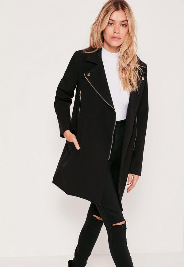 Tailored Biker Coat Black - Missguided