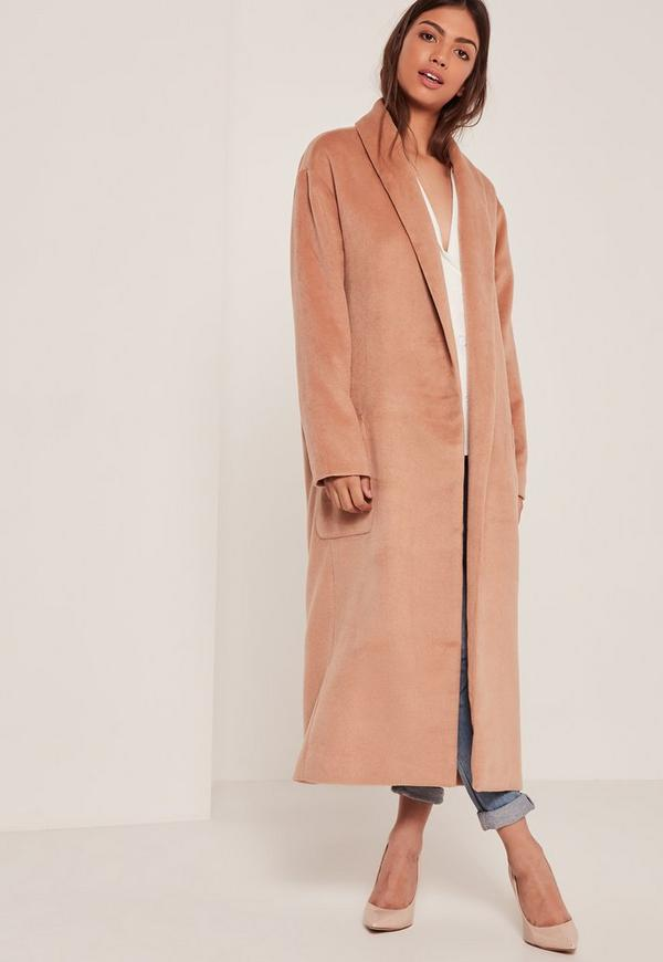 Nude Textured Shawl Collar Maxi Coat