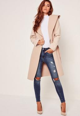 Hooded Faux Wool Duster Coat Camel