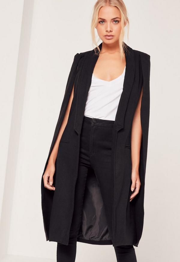 Faux Wool Cape Coat Black