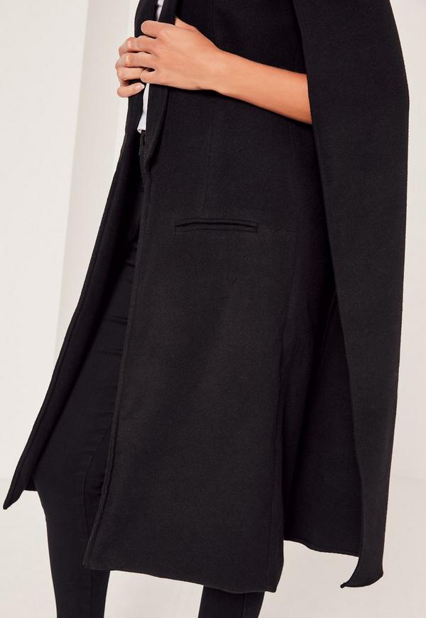 Faux Wool Cape Coat Black | Missguided