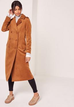 Abrigo largo de lana sintética con diseño militar premium tostado