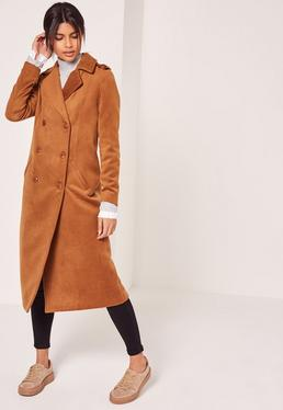 Premium Military Faux Wool Maxi Coat Tan
