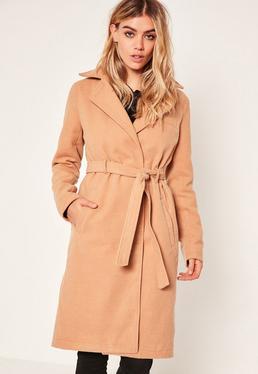 Manteau camel avec ceinture