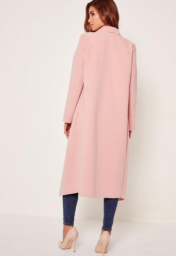 Oversized Waterfall Duster Coat Pink | Missguided Ireland