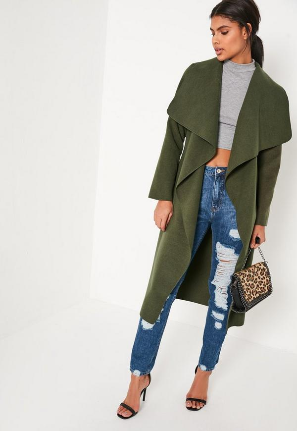 Khaki Oversized Waterfall Duster Coat