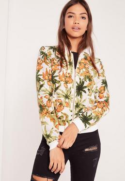 Tropical Print Bomber Jacket