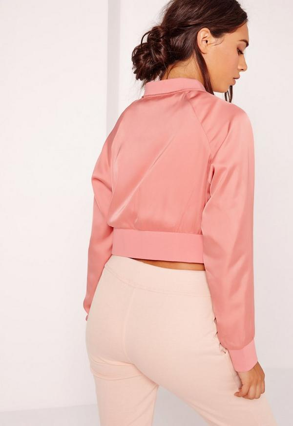 Satin Cropped Bomber Jacket Pink Missguided