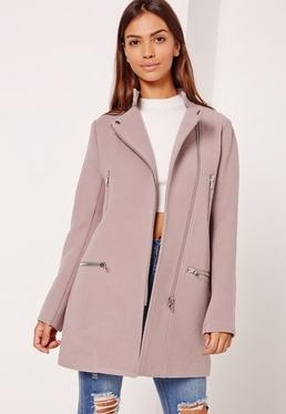 Collarless Biker Coat Lilac
