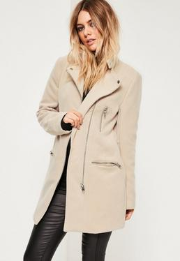 Collarless Biker Coat Nude