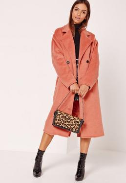 Zweireihiger Kokon-Mantel aus Fake-Wolle in Pink