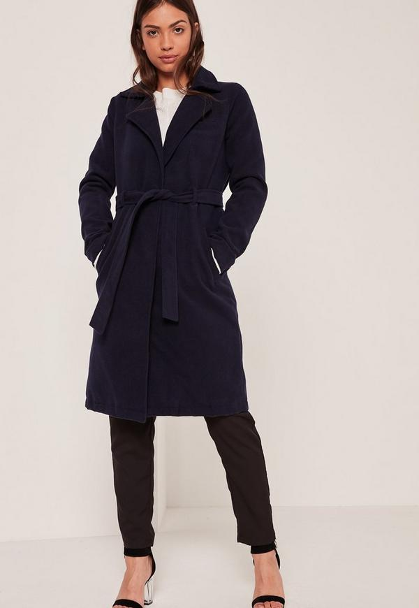 Navy Belted Tailored Faux Wool Coat