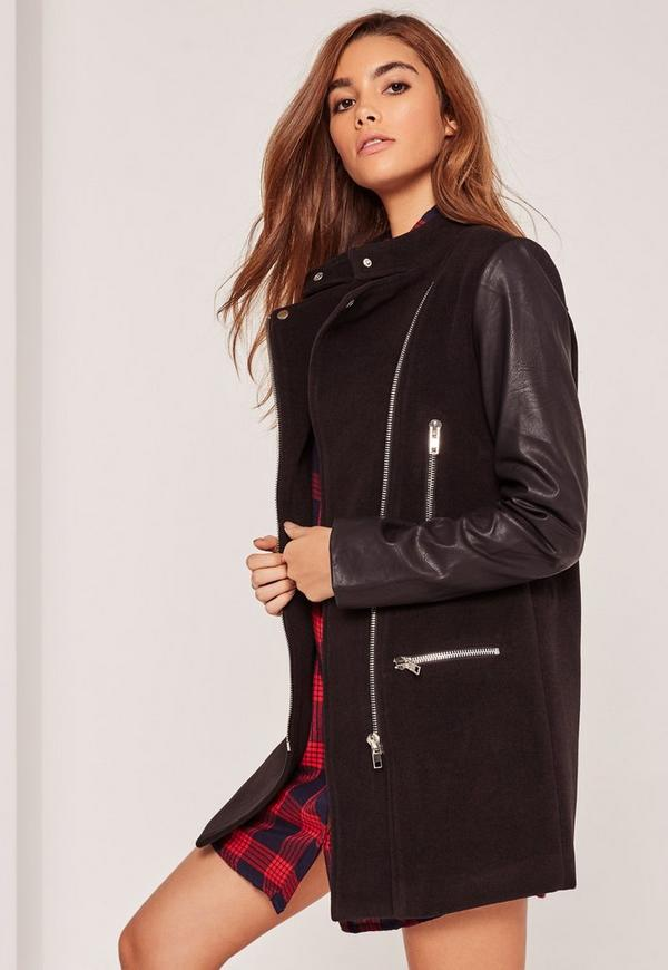 Faux Leather Sleeved Collarless Biker Jacket Black