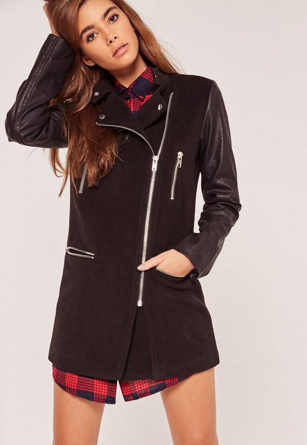 Faux Leather Sleeved Collarless Biker Jacket Black - Missguided