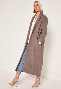 Brown Shawl Collar Faux Wool Maxi Coat