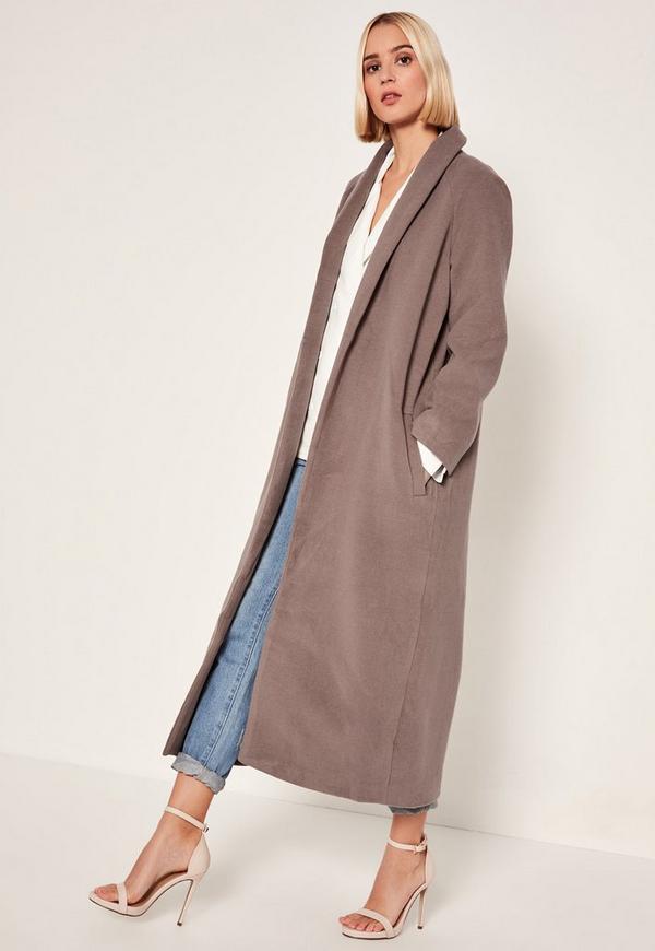 Brown Shawl Collar Faux Wool Maxi Coat