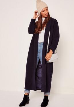 Shawl Collar Faux Wool Maxi Coat Navy