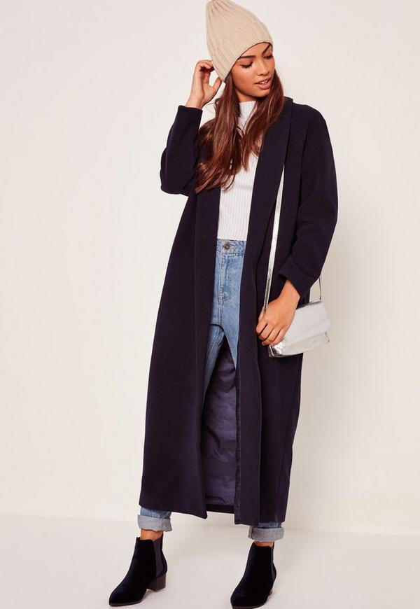 Shawl Collar Faux Wool Maxi Coat Navy