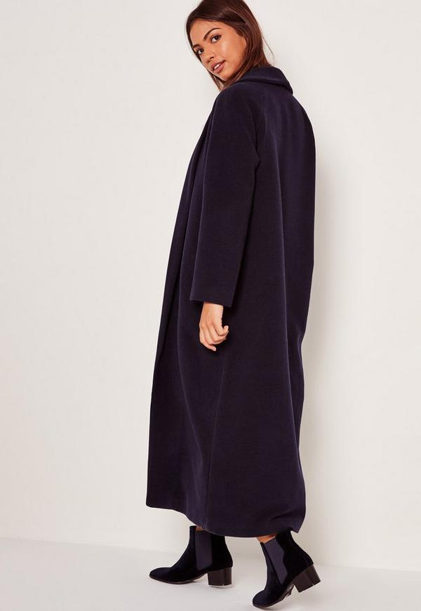 Shawl Collar Faux Wool Maxi Coat Navy | Missguided