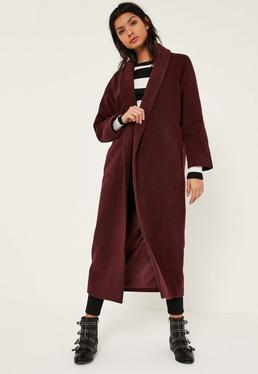 Burgundy Shawl Collar Faux Wool Maxi Coat