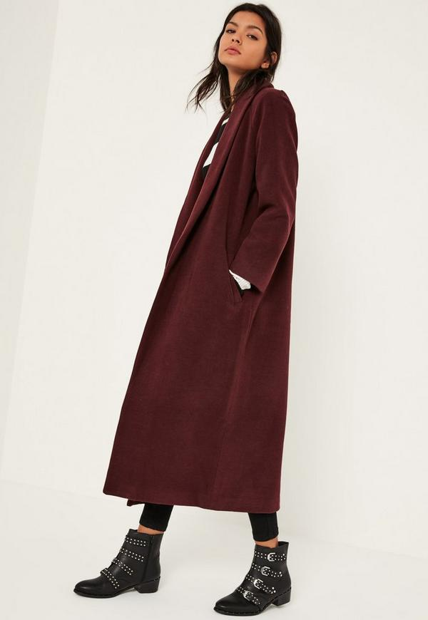 Burgundy Shawl Collar Faux Wool Maxi Coat | Missguided
