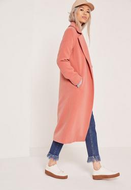 Longline Faux Wool Duster Coat Pink