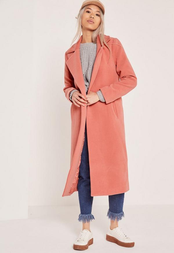 Longline Faux Wool Duster Coat Pink   Missguided