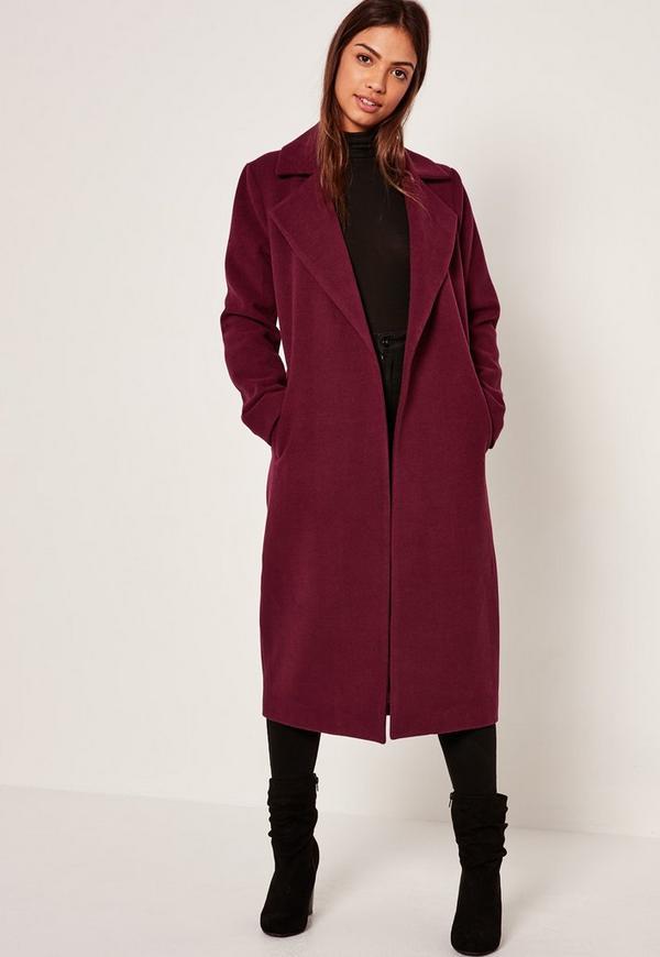Longline Faux Wool Duster Coat Purple